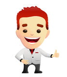 Smiling Guy In A White Suit giving Thumbs Up. Smiling guy in a white suit and black shirt giving thumbs up for approval. Might be used as a corporate mascot Royalty Free Stock Image