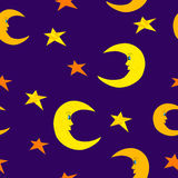 Smiling half moon and bright stars Royalty Free Stock Image