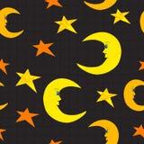 Smiling half moon and stars seamless Stock Photos