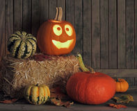 Smiling Halloween Jack-O-Lantern Stock Photos