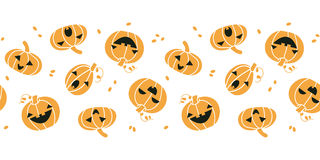 Smiling Halloween pumpkins horizontal seamless Stock Photography