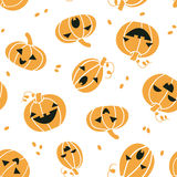 Smiling Halloween pumpkins seamless pattern Royalty Free Stock Photography