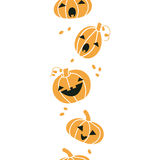 Smiling Halloween pumpkins vertical seamless Royalty Free Stock Photography
