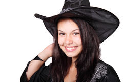Smiling Halloween Witch. Cute Halloween witch smiling isolated on white background Royalty Free Stock Photography