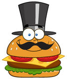 Smiling Hamburger Cartoon Character Gentleman With Cylinder Hat And Mustache Royalty Free Stock Photos