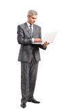 Smiling handsome businessman working with laptop Royalty Free Stock Images