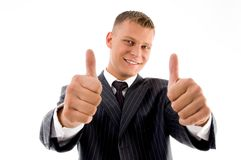 Smiling handsome lawyer showing thumbs up Royalty Free Stock Photos