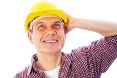 Smiling handsome man-builder stock photo
