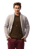 Smiling handsome man  in cardigan Stock Photo