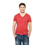 Smiling handsome man in casuals red t-shirt Royalty Free Stock Photo