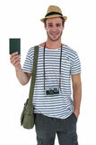 Smiling handsome man holding a leather wallet Stock Photos