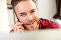 Free Smiling Handsome Man On Telephone Call Royalty Free Stock Photo - 75772815