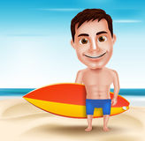 Smiling Handsome Surfer Man Vector Character Holding Surfboard Royalty Free Stock Photos