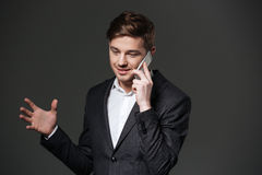 Smiling handsome young businessman gesturing and talking on cell phone Stock Image