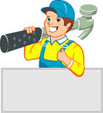 Smiling Handyman with Big Hammer Royalty Free Stock Images