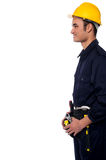 Smiling handyman isolated over white Stock Images