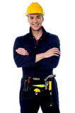 Smiling handyman isolated over white Royalty Free Stock Photos