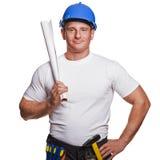 Smiling handyman on white background Royalty Free Stock Photo