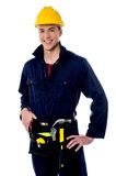 Smiling handyman on white background Royalty Free Stock Photography