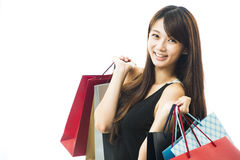 Smiling happy Asian woman shopping Royalty Free Stock Photography
