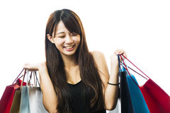 Smiling happy Asian woman shopping Royalty Free Stock Image