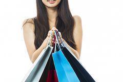 Smiling happy Asian woman shopping Royalty Free Stock Photo