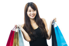 Smiling happy Asian woman shopping Royalty Free Stock Photos