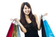 Smiling happy Asian woman shopping Stock Images