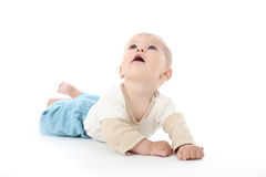 Smiling Happy Baby on White Looking Up Stock Photography