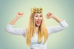Confident woman wearing crown royalty free stock photos