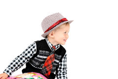 Smiling happy boy in hat shot in the studio on a white backgroun Royalty Free Stock Photo