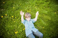 Smiling happy boy laying in grass outside picking flowers. Face of smiling, happy five year old boy laying back in green grass outside picking yellow dandelions royalty free stock photo