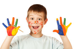 Smiling happy boy with stained coloured hand. Funny boy with stained coloured hand. isolated royalty free stock photography