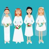 Smiling happy brides in wedding dresses vector illustration Stock Photography