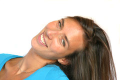 Smiling happy brunette royalty free stock photos
