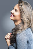 Smiling Happy Brunette Woman Profile Portrait Stock Photos