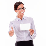 Smiling happy businesswoman with copy space Stock Images