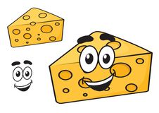 Smiling happy cartoon wedge of cheese Stock Photo