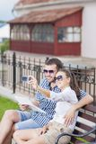 Smiling and Happy Caucasian Couple in Love Royalty Free Stock Images