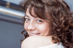 Smiling Happy Charming Cute Caucasian Female with Beautiful Dark Stock Photos