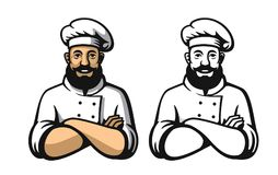 Smiling and happy chef. Black and color vector Royalty Free Stock Images