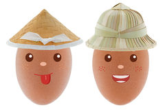 Smiling happy Chicken egg wearing Asian conical straw hat and su Stock Image