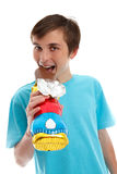 Smiling happy child eating chocolate easter Royalty Free Stock Photos