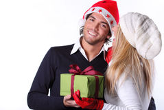 Smiling and happy Christmas couple Stock Photo