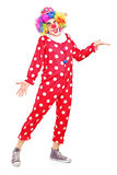 Smiling happy clown gesturing. Full length portrait of a smiling happy clown gesturing  on white background Stock Photos
