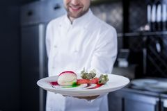 Smiling happy cook holding a prepared dish royalty free stock images