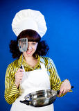 Smiling happy cook woman Royalty Free Stock Images