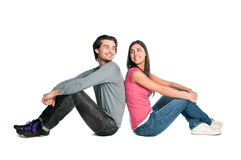 Smiling happy couple glance Royalty Free Stock Photo