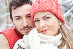 Smiling happy couple in winter Stock Photography