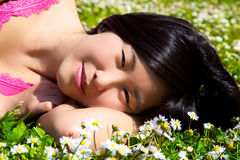 Smiling happy cute asian woman in spring Royalty Free Stock Image
